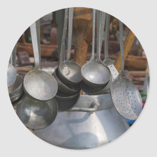 old pots and pans round sticker
