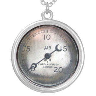 Old pressure gauge from a vintage racing car silver plated necklace