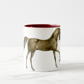 Old Print Horse Image Two-Tone Coffee Mug