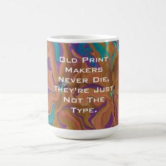 old print makers joke classic white coffee mug