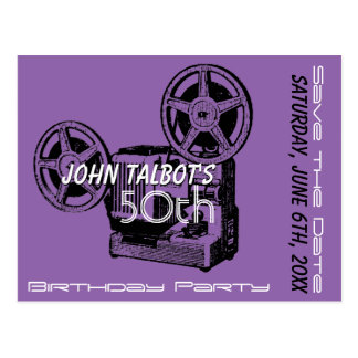 Old Projector 50th birthday Party Save the Date Postcard