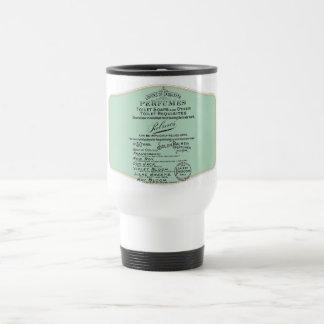 Old publicity perfumes, celestial details travel mug