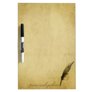 Old Quill Pen and Aged Paper Dry-Erase Board