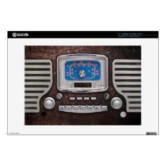 Old Radio on brown leather Laptop Skin