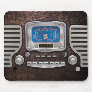 Old Radio on brown leather Mouse Pad