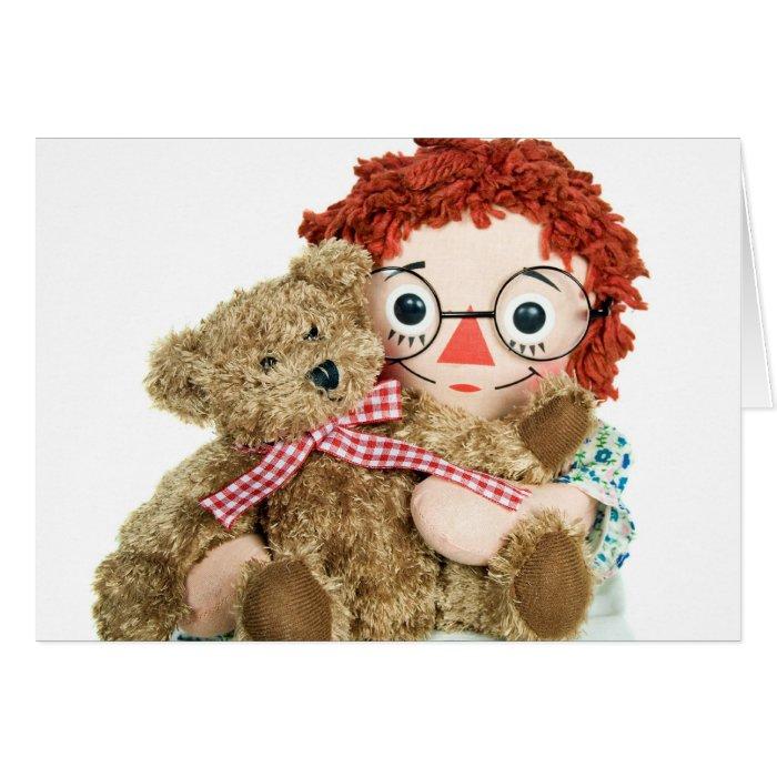 old rag doll and teddy bear card