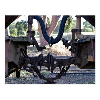 Old Railcar buffers Postcard