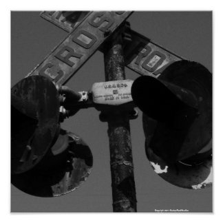 Old railroad crossing signal print