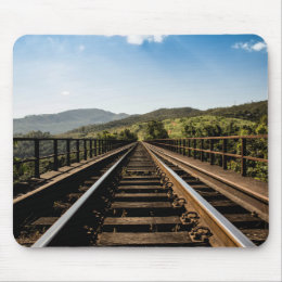 Old railroad railway bridge nature scenery mouse pad