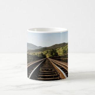 Old railroad railway bridge nature scenery classic white coffee mug