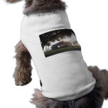 Old ranch building under trees with man statue pet tshirt