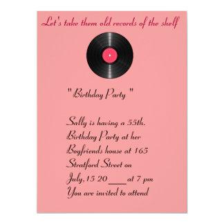 Old records birthday invitation. card