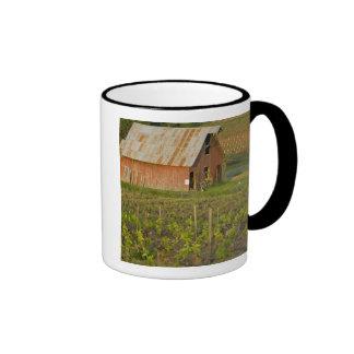 Old red barn at the edge of Zinfandel vineyard Coffee Mug