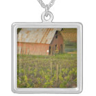 Old red barn at the edge of Zinfandel vineyard Silver Plated Necklace