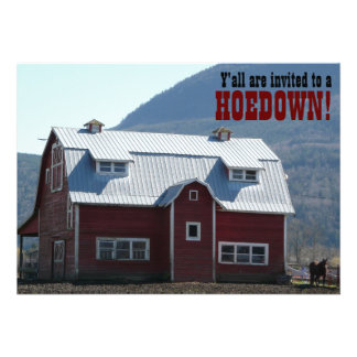 Old Red Barn Country Style Hoedown Barn Raising Personalized Announcements