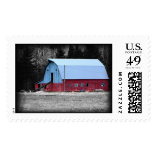 Old Red Barn in the Country Stamp