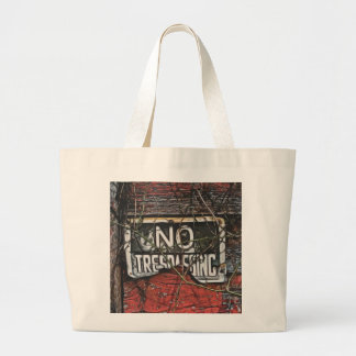 Old Red Barn & No Trespassing Sign Painting Jumbo Tote Bag