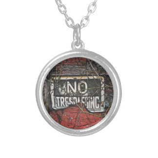 Old Red Barn & No Trespassing Sign Painting Round Pendant Necklace