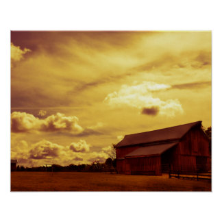 Old Red Barn Photo Poster