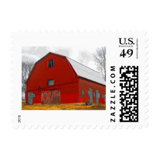 Old Red Barn Postage Stamp
