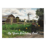 Old Red Barn & Rusty Truck Birthday Card for Dad