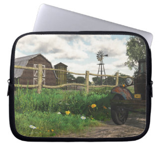 Old Red Barn & Rusty Truck Laptop Sleeve