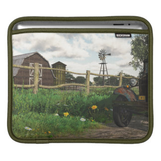 Old Red Barn & Rusty Truck Sleeve For iPads