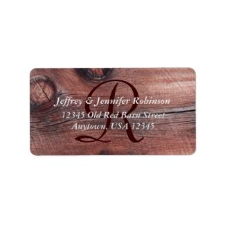 Old Red Barn Siding Return Address Label Monogram