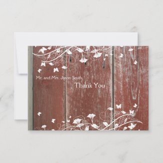 Old Red Barn Wood flat thank you cards