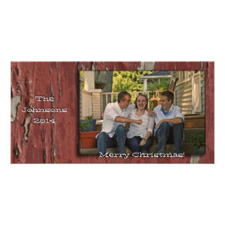 Old Red Barn Wood Look Photo Christmas Card