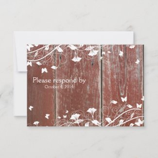 Old Red Barn Wood RSVP with envelope