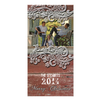 Old Red Barn Wood Silver Snow Photo Christmas Card Personalized Photo Card