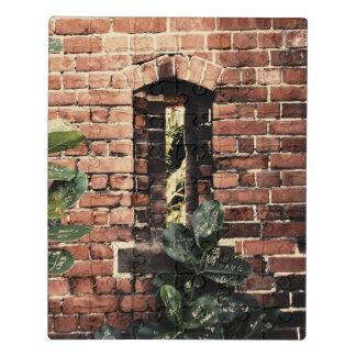 Old Red Brick Fort Gun Slit Wall Puzzle