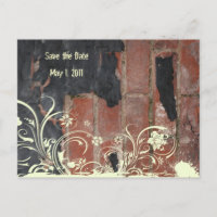 Old Red Brick Save the Date Announcement Postcard