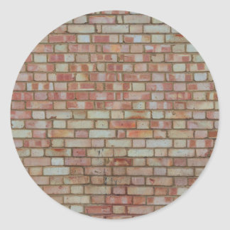 Old red brick wall texture classic round sticker