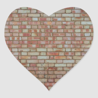 Old red brick wall texture heart sticker