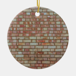 Old red brick wall texture round ceramic ornament