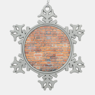 Old red brick wall texture pewter snowflake ornament