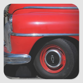 Old Red Chevrolet Car Sticker