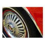 Old Red Classic Car   Hubcap Tire -Postcard