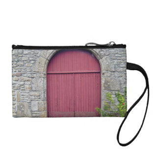 Old Red Door Against An Old Stone Wall Change Purse