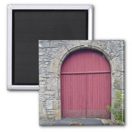 Old Red Door Against An Old Stone Wall 2 Inch Square Magnet