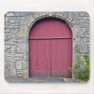 Old Red Door Against An Old Stone Wall Mouse Pad
