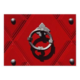 Old red door in Zurich, Switzerland 5x7 Paper Invitation Card