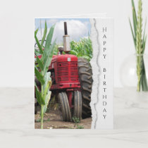 old red farm tractor in cornfield birthday card