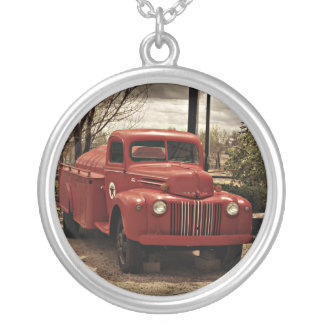 Old Red Firetruck necklace