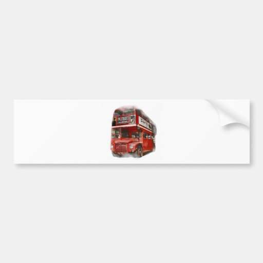 Old Red London Bus Bumper Stickers