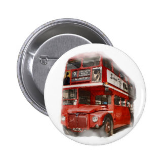 Old Red London Bus Button