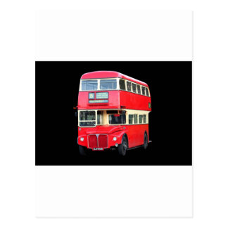 Old red London bus from around 1950 Postcard