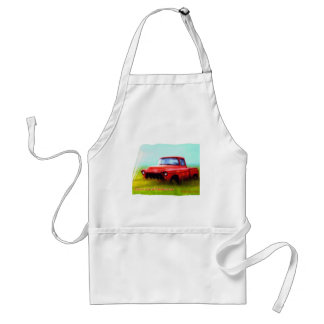 Old Red Pickup Barn Yard Memories Adult Apron